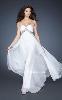 Picture of: A-line Chiffon Gown with Pleated Bodice and Empire Waist in White, Style: 18401, Main Picture