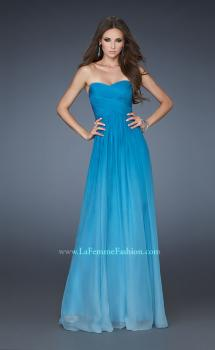 Picture of: Chiffon Prom Dress with Back Bow Detailing in Blue, Style: 18415, Main Picture
