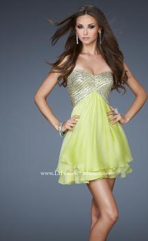 Picture of: Flirty Cocktail Dress with Layered Chiffon Skirt in Green, Style: 18418, Main Picture