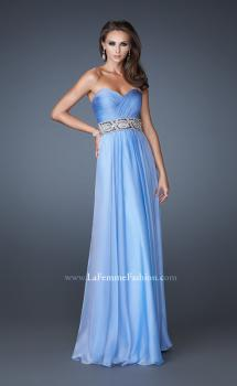 Picture of: Strapless Chiffon Gown with Beaded and Sequin Design in Blue, Style: 18420, Main Picture