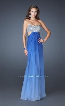 Picture of: Strapless Chiffon Dress with Beaded Bodice and Cut Outs in Blue, Style: 18429, Main Picture