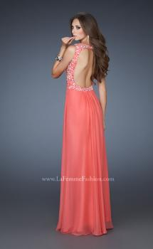 Picture of: A-line Beaded One Shoulder Dress with Ruching in Orange, Style: 18438, Main Picture