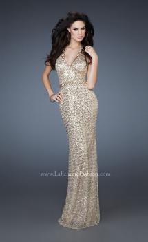 Picture of: Elegant Halter Top Sequined Long Prom Dress in Gold, Style: 18446, Main Picture