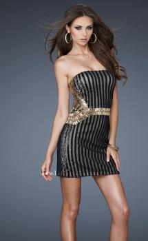 Picture of: Cocktail Dress with Sequins and Gold Stone Detailing in Black, Style: 18451, Main Picture