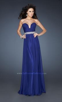 Picture of: Pleated Bodice Long A-line Prom Dress with Rhinestones in Blue, Style: 18457, Main Picture