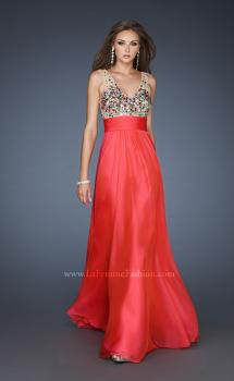 Picture of: Chiffon Prom Dress with Illusion Bodice and Flowy Skirt in Pink, Style: 18465, Main Picture