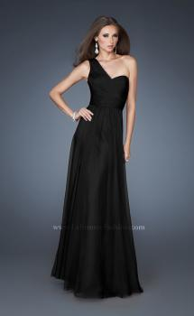 Picture of: One Shoulder Gown with Gathered Detail and Sheer Back in Black, Style: 18466, Main Picture