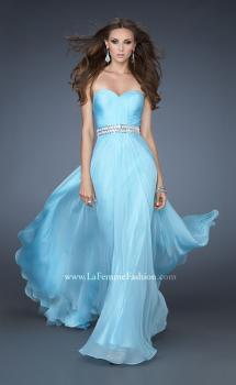 Picture of: Sweetheart Neckline Chiffon Gown with Rhinestone Belt in Blue, Style: 18471, Main Picture
