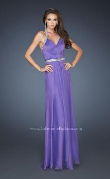 Picture of: Halter Top Prom Dress with Beaded Detail and Gathering in Purple, Style: 18476, Main Picture