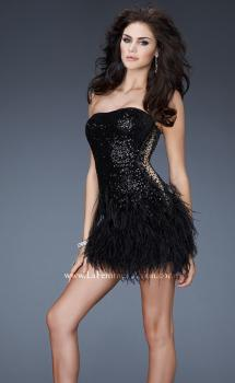 Picture of: Sequined Cocktail Dress with Sheer Detail and Feather Skirt in Black, Style: 18489, Main Picture