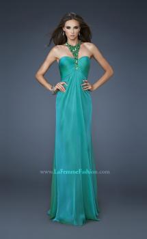 Picture of: Chiffon Halter Gown with Rhinestones and Open Back in Green, Style: 18490, Main Picture