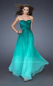 Picture of: Strapless Long Chiffon Dress with Ombre Print in Green, Style: 18497, Main Picture