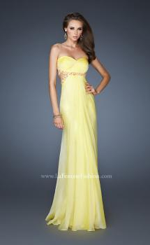 Picture of: Chiffon Gown with Gathered Bodice and Rhinestone Accents in Yellow, Style: 18509, Main Picture