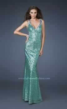 Picture of: Sequined Gown with Open Back and Rhinestone Detail in Green, Style: 18514, Main Picture