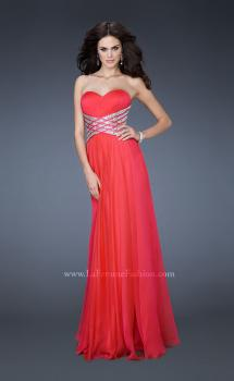 Picture of: Long Sweetheart Chiffon Gown with Sequin Detail in Pink, Style: 18530, Main Picture