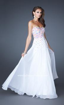 Picture of: A-line Chiffon Gown with Cascading Rhinestone Detail in White, Style: 18532, Main Picture