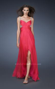 Picture of: Illusion Strap Prom Dress with V Back and Rhinestones in Pink, Style: 18541, Main Picture