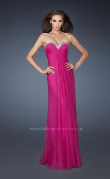 Picture of: Beaded Neckline Long Chiffon Prom Dress in Pink, Style: 18543, Main Picture