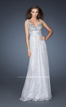 Picture of: Sequined Dress with Beaded Bodice and Gathered Skirt in Silver, Style: 18545, Main Picture