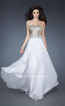 Picture of: Strapless Chiffon Gown Embellished with Sequins and Gems in White, Style: 18556, Main Picture