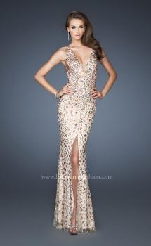Picture of: Fitted Prom Gown with Oversized Stones and Cut Out Back, Style: 18559, Main Picture