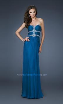 Picture of: Beaded Bodice Long Prom Dress with Cut Outs and Stones, Style: 18560, Main Picture