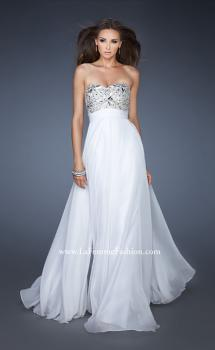 Picture of: Empire Waist Chiffon Prom Dress with Embellished Bodice in White, Style: 18561, Main Picture