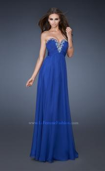 Picture of: Long Chiffon Prom Dress with Center Front Ruching in Blue, Style: 18563, Main Picture