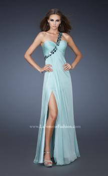 Picture of: Chic One Shoulder Chiffon Dress with Ruched Bodice in Blue, Style: 18573, Main Picture