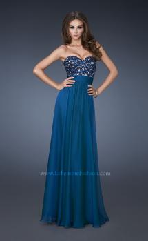 Picture of: A-line Chiffon Gown with Sequin Bodice and Beading in Blue, Style: 18581, Main Picture