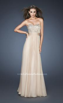 Picture of: Strapless Empire Chiffon Gown with Ruched Sequin Pattern in Nude, Style: 18584, Main Picture