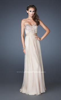 Picture of: Crystal Embellished Prom Dress with Ruching and Belt in Nude, Style: 18588, Main Picture