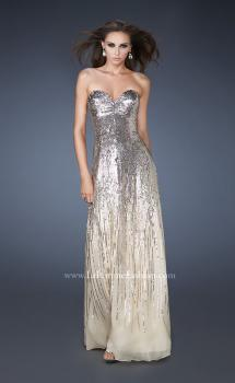 Picture of: Sweetheart Neckline Prom Dress with Cascading Sequins in Nude, Style: 18590, Main Picture