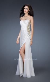 Picture of: Strapless Prom Gown with Beaded Sides and Ruching in White, Style: 18594, Main Picture