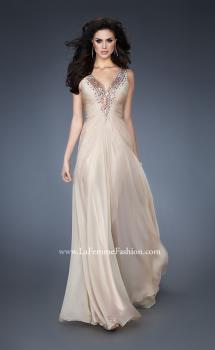 Picture of: Chiffon V Neck Prom Gown with Iridescent Stone Detail, Style: 18604, Main Picture