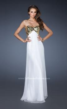 Picture of: Empire Waist Chiffon Prom Dress with Embellished Straps in White, Style: 18608, Main Picture