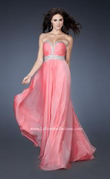 Picture of: Long Prom Dress with Gem Bordered Neckline and Beads in Pink, Style: 18609, Main Picture