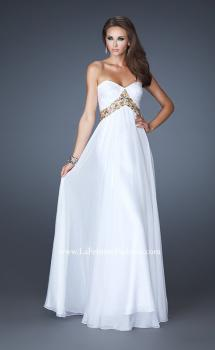 Picture of: Chiffon Empire Dress with Pleated Bodice and Beads in White, Style: 18612, Main Picture