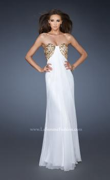 Picture of: Strapless Sweetheart Prom Dress with Front Slit and Beads in White, Style: 18617, Main Picture