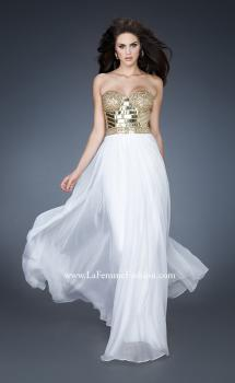 Picture of: Beaded Bodice Long Prom Dress with Sweetheart Neck in White, Style: 18626, Main Picture