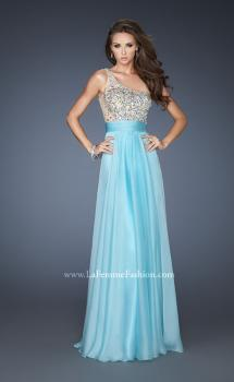 Picture of: Long Prom Gown with Embellished Bodice, Belt, and Mesh in Blue, Style: 18646, Main Picture
