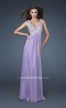 Picture of: Empire Waist Chiffon Gown with Lace and Beaded V Neck in Purple, Style: 18651, Main Picture