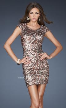 Picture of: Short Cap Sleeve Cocktail Dress with Sequins in Print, Style: 18652, Main Picture