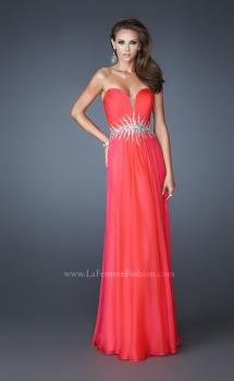 Picture of: Strapless Chiffon Dress with Ruching and Rhinestone Belt in Orange, Style: 18657, Main Picture