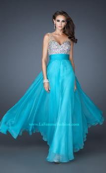 Picture of: A-line Chiffon Dress with Mesh Straps and Low V Back in Blue, Style: 18669, Main Picture