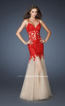 Picture of: Trumpet Style Prom Dress with Neckline and Thin Straps in Red, Style: 18675, Main Picture