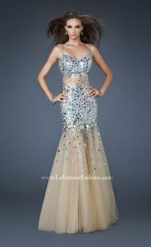 Picture of: Long Mermaid Prom Dress with Tulle Skirt and Beading in Silver, Style: 18689, Main Picture