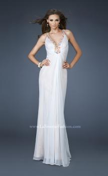 Picture of: Beaded V neck Prom Dress with Criss Cross Straps in White, Style: 18693, Main Picture