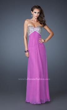 Picture of: Empire Waist Chiffon Dress with Beaded Bodice in Purple, Style: 18695, Main Picture