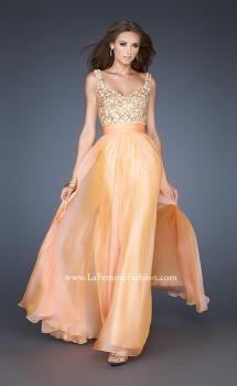 Picture of: A-line Chiffon Prom Dress with Scoop Back and Stones in Orange, Style: 18701, Main Picture